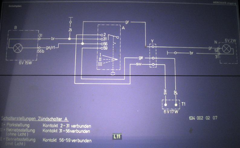 Hercules Jogging - Schaltplan (6V Zündung) auch für Prima Modelle